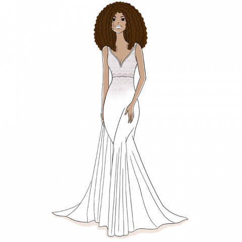 illustration cover lifting nipples to wear with her wedding dress neckline in front