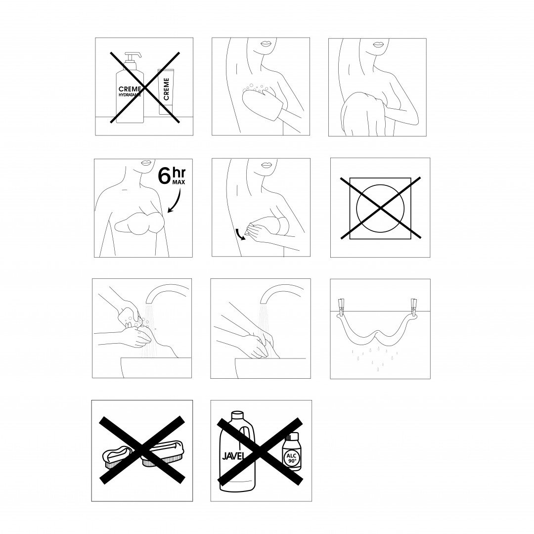 Instructions for use bra adhesive backless sticker gilsa paris