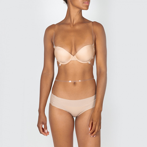 204 divine bra lima chair wedding oui by gilsa paris invisible multi position bra worn face + 423 colette lima flesh seamless panties gilsa paris worn face
