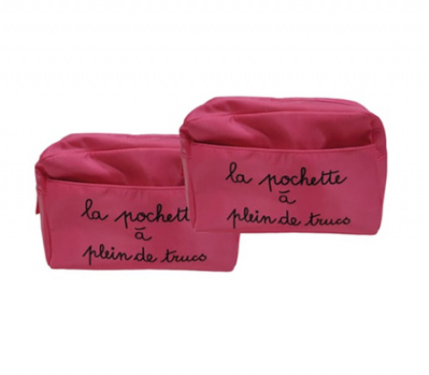 509-pencil case-teknik-pink-nylon-double-set of 2 oui by gilsa wedding