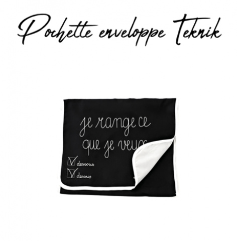 511 GILSA Paris Envelope pouch in black and gray nylon Teknik 1