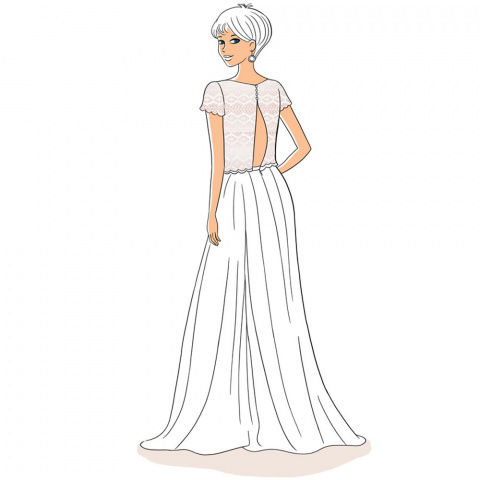illustration backless dress in light lace for invisible bra oui by gilsa